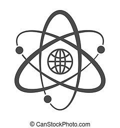 Globe with orbits. Single icon. Vector illustration.