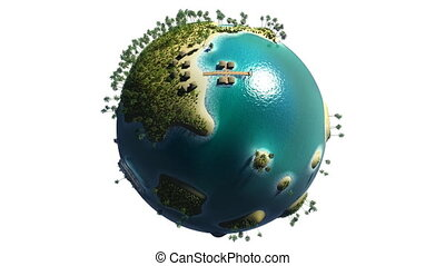 Globe with paradise islands, swaying palms and moving transport, full HD, loopable