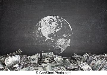 Globe with pile of dollar bills