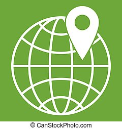 Globe with pin icon green