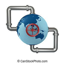 globe with pipes - globe world connected with pipes and a...