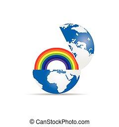 globe with rainbow illustration