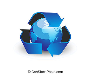 globe with recycle arrow symbol - vector