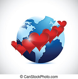 globe with red hearts around illustration