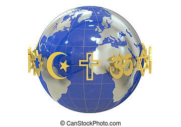 Globe with religions symbols