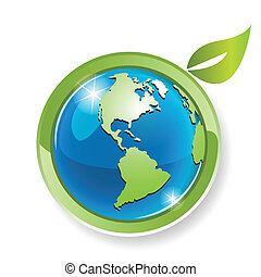 Illustration, green sheet on globe on white background