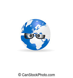 globe with sunglasses cartoon illustration