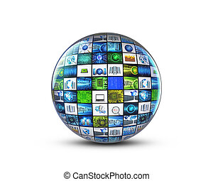 globe with tech images