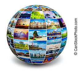 Globe with travel photos - Global travel media world globe...