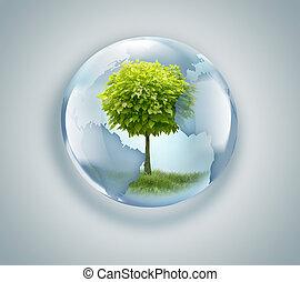 globe with tree inside