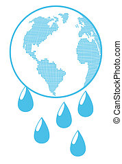 Globe with water drops global warming background vector