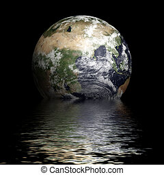 globe with water reflection