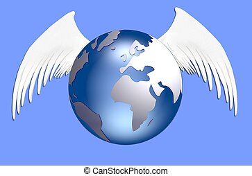 globe with wings