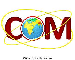 Globe with word com