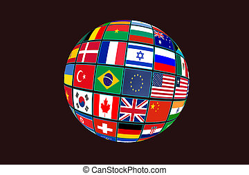 Globe with world flags isolated on black background