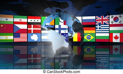 Globe with World Flags - HD Globe with World Flags