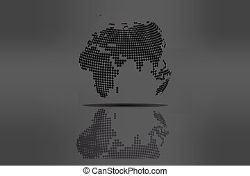 Grayscale world map illustration vector clipart search globe with world map in grayscale gumiabroncs Image collections
