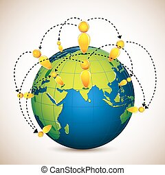 Globe with World Wide Human Network