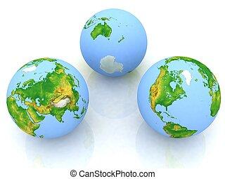 globe, witte , drie, achtergrond