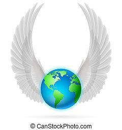 globe, witte , vleugels