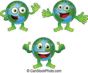 Globe world cartoon character