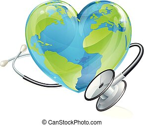 Globe World Health Day Heart Earth Stethoscope Concept