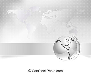 Globe, world map - business concept - Abstract light grey...