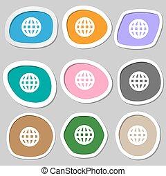 Globe, World map geography  icon symbols. Multicolored paper stickers. Vector