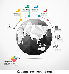 globe world map illustration infographics geometric concept design vector template.