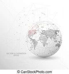 Globe world map shape digitally drawn low poly wire frame.
