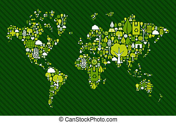 Globe World map with green icons - Environmental icon set in...