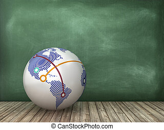Globe World on Chalkboard Background
