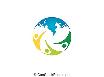 globe world people diversity group vector logo