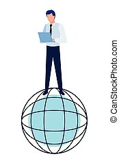 globe world sphere icon cartoon