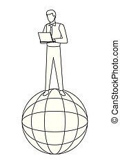 globe world sphere icon cartoon in black and white