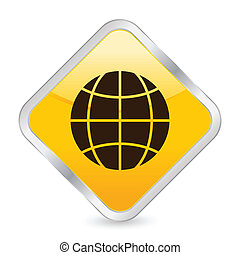 globe yellow square icon