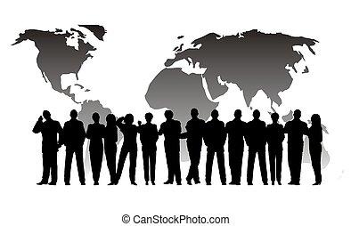 globe, zakelijk, menigte