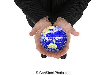 globe, zakelijk, vasthouden, man