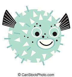 globefish, plano, blanco, ilustración