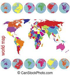 glober, karta, färgad, värld, mull
