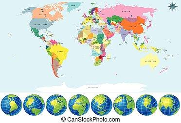 glober, karta, politisk, värld, mull