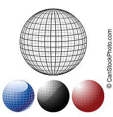 glober, sätta, färgad