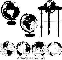 glober, silhouettes, sätta, står