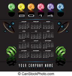 globes, 2014, calendrier, créatif