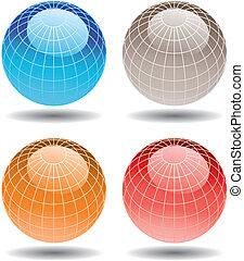 globes, 4, coloré