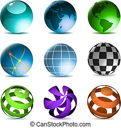 Globes and spheres icons