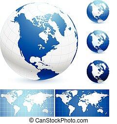 Globes and World Maps Original Vector Illustration Globes...