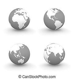 globes, blanc, gris, 3d