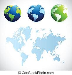 globes, carte, conception, illustration, mondiale