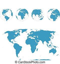 globes, carte, vecteur, -, mondiale